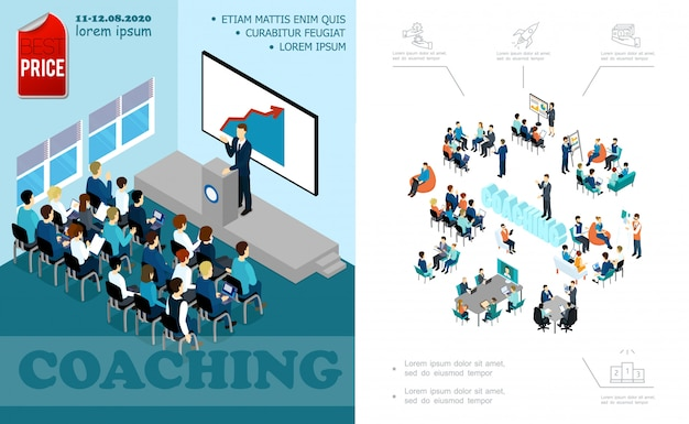 Isometric business education composition with lecturer speaking to auditorium brainstorming staff coaching seminar online conference Free Vector