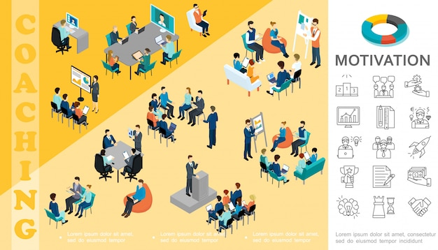 Isometric business education composition with staff take part in conference coaching seminar brainstorming consultation motivation linear icons Free Vector
