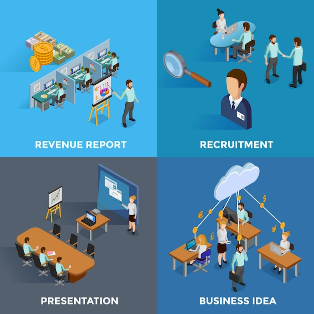 Isometric business elements and characters set Free Vector