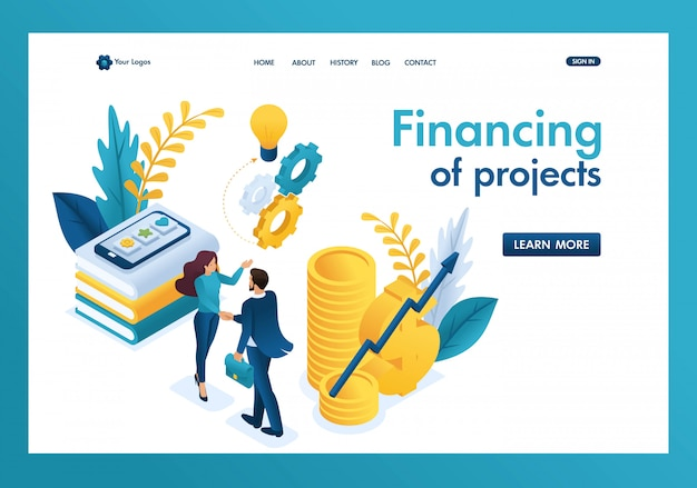 Isometric business financial cooperation between the investor and the creative team Premium Vector