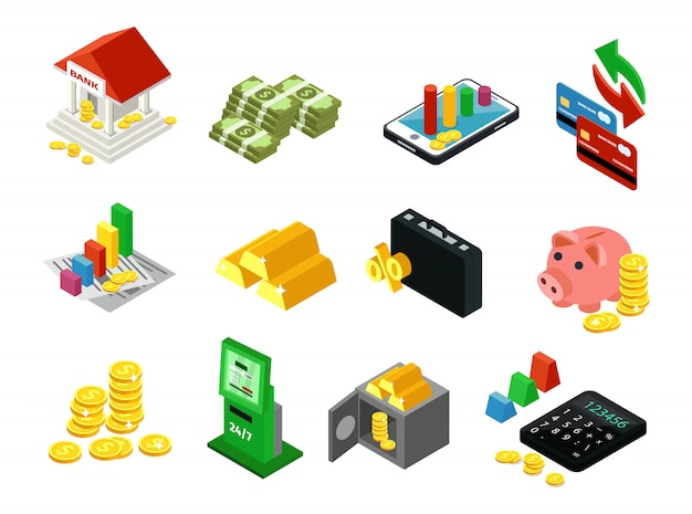 Isometric business financial icons set Free Vector