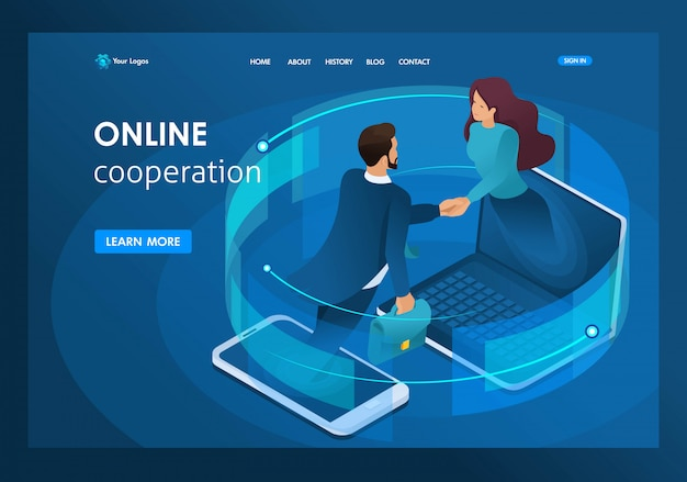 Isometric business, global online collaboration between large companies landing page Premium Vector