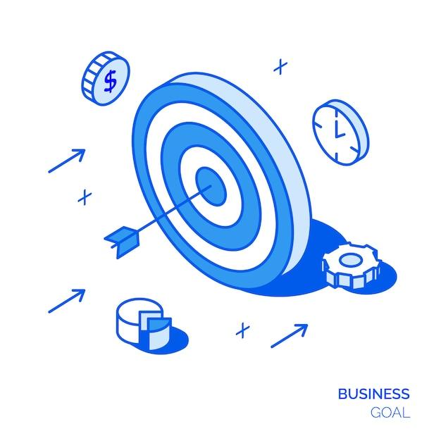 Isometric business goal concept Premium Vector