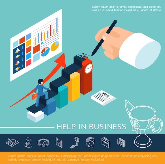 Изометрические бизнес-концепция помощи с бизнесменом, идущим по лестнице, написание ручных диаграмм, диаграмм, графиков на листе и линейных значков, иллюстрации Бесплатные векторы