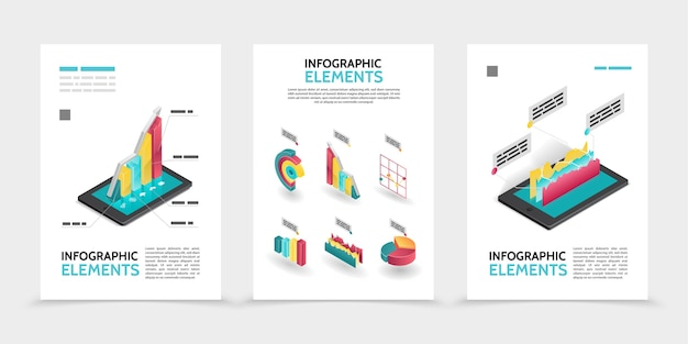 Isometric business infographic posters Free Vector