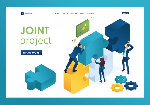 Isometric business joint project of a big team, teamwork, brainstorming landing page Premium Vector