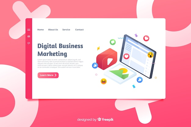 Isometric business landing page template Free Vector