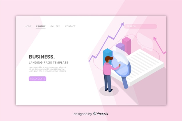 Isometric business landing page for website Free Vector