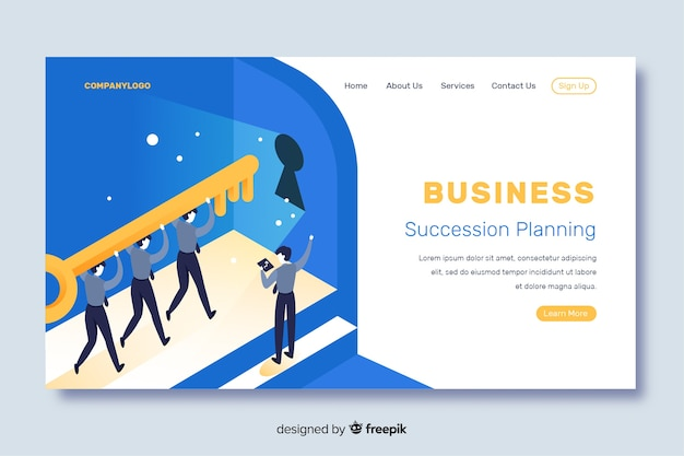 Isometric business landing page with succession planning Free Vector