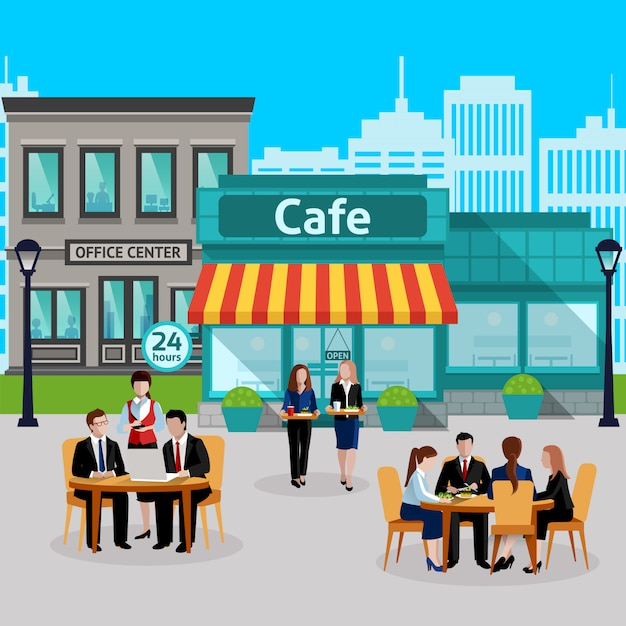 Isometric business lunch people colored composition Free Vector