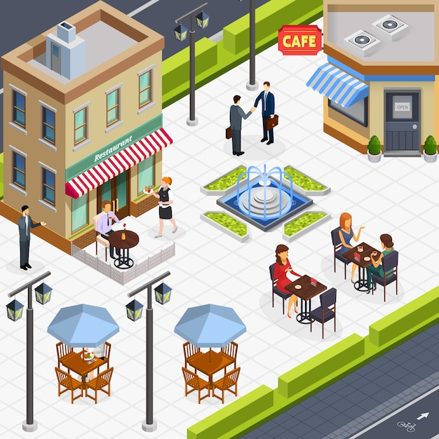 Isometric business lunch people composition Free Vector