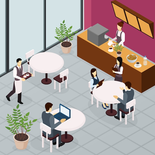 Isometric business lunch people Free Vector