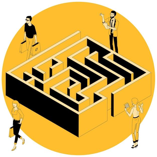 Изометрические бизнес-лабиринт концепция. Premium векторы