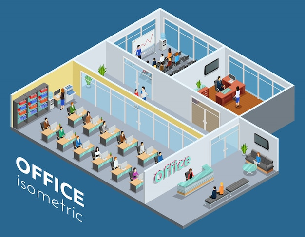 Isometric business office illustration Free Vector