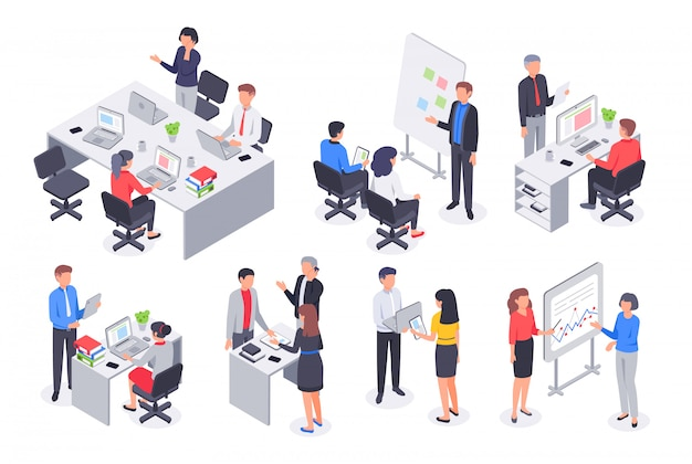 Isometric business office team. corporate teamwork meeting, employee workplace and people work 3d vector illustration set Premium Vector