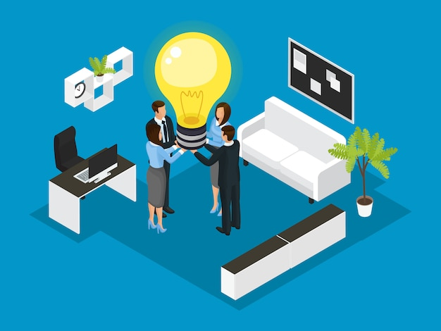 Isometric business partnership concept Free Vector