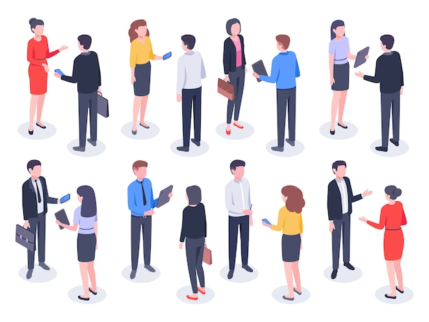 Isometric business people. businessman team, businesswoman working collective and crowd of office worker persons illustration Premium Vector