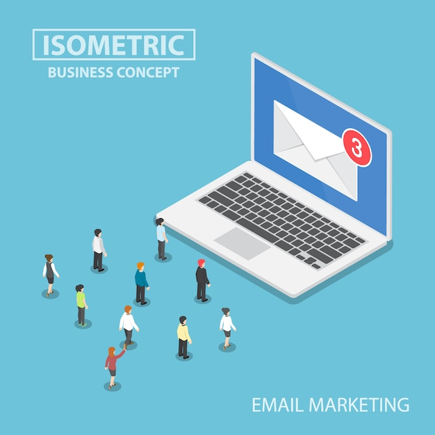 Isometric business people looking to new email notification on laptop monitor Premium Vector