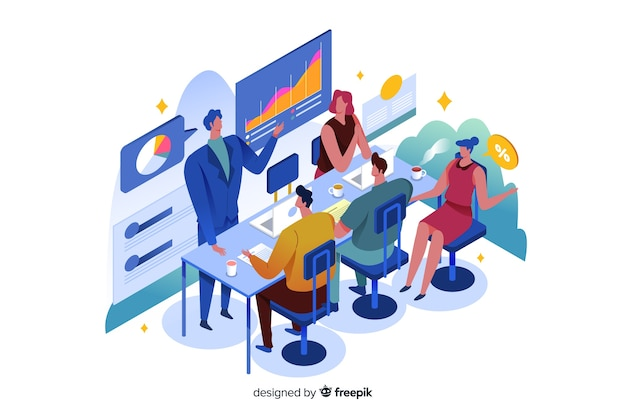 Isometric business people in a meeting Free Vector