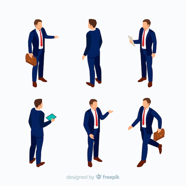 Isometric business people in suit Free Vector