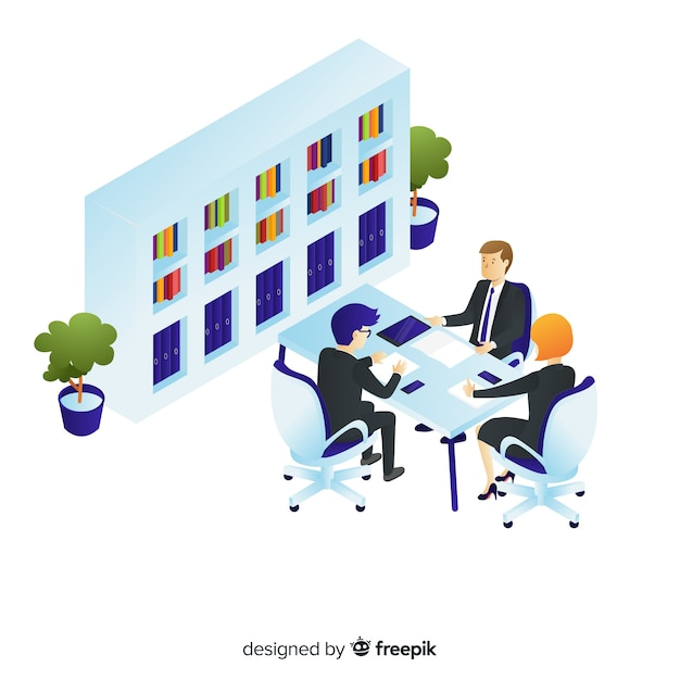 Isometric business people talking about business Free Vector
