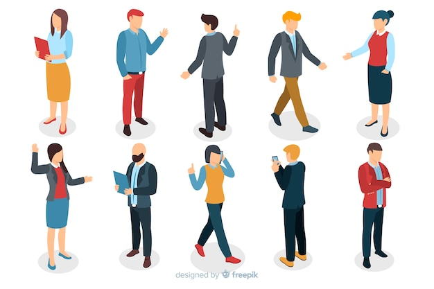 Isometric business people Free Vector