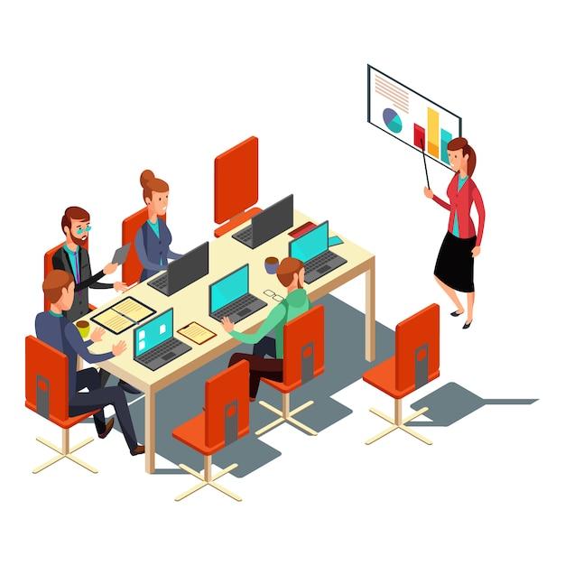 Isometric business presentation, meeting, financial report flat illustration. modern design for websites, web banner, infographics, printed materials vector Premium Vector