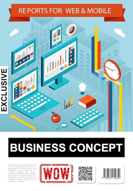 Изометрические бизнес-отчет инфографики концепция с диаграммами, диаграммами, графиками на экранах планшетов портативных компьютеров, часы, яблоко, книжная лупа, иллюстрация Бесплатные векторы
