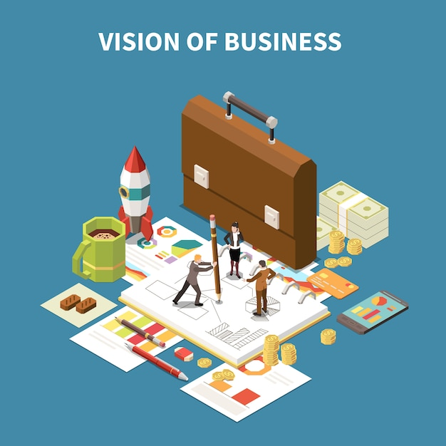 Isometric business strategy composition with vision of business description and abstract elements  illustration Free Vector