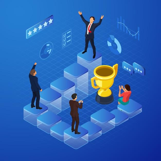 아이소 메트릭 비즈니스 팀은 아이소 메트릭 사람과 금상으로 승리 개념을 기념합니다. 프리미엄 벡터