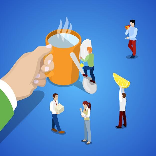 等尺性ビジネスチームの仕事。一杯のお茶と人々と手。ベクトル3 dフラットイラスト Premiumベクター