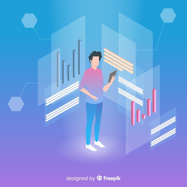 Isometric business technology with man on tablet Free Vector