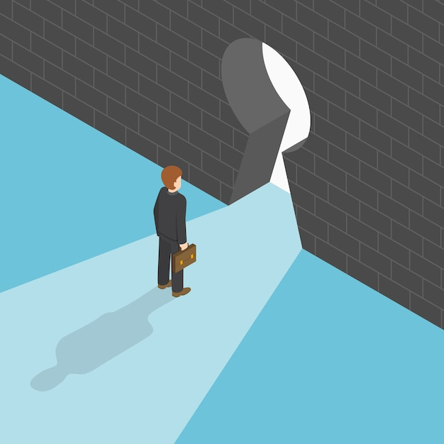 Isometric businessman standing in front of big keyhole Premium Vector