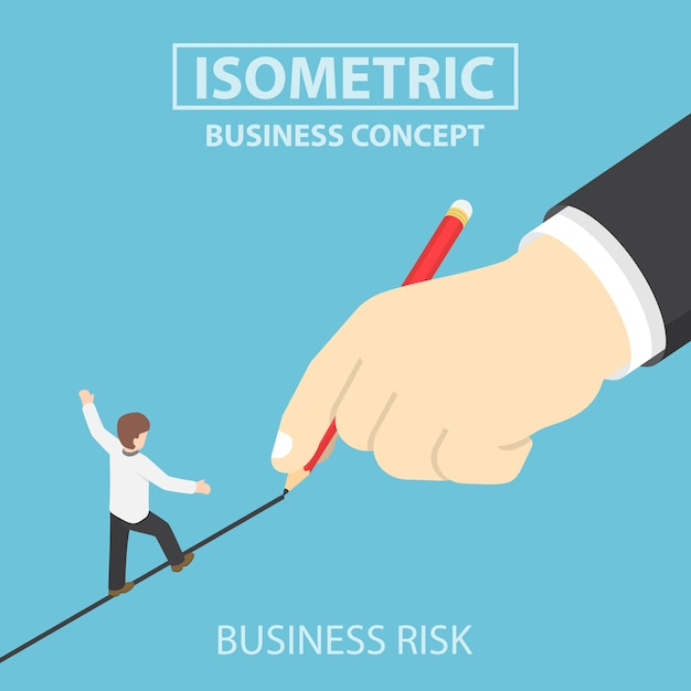 Isometric businessman walking on drawn line Premium Vector