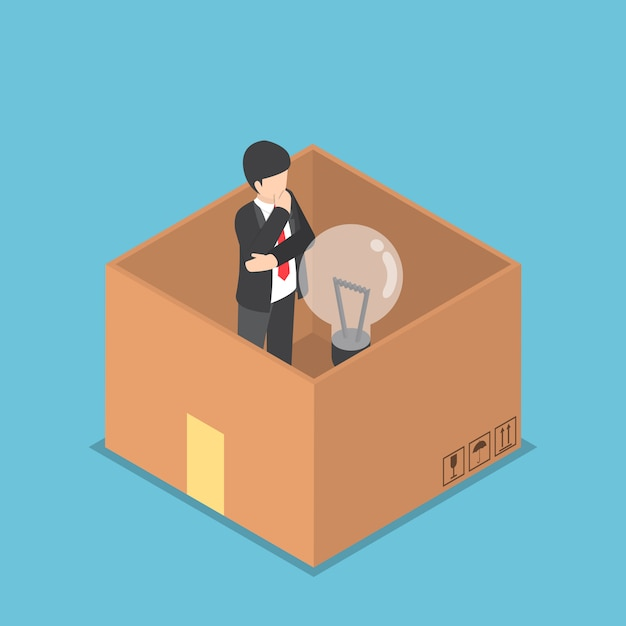 Isometric businessman with light bulb of idea inside the paper box Premium Vector