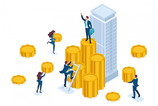 Isometric businessmen carry money to an investment company, a financial instrument. Premium Vector