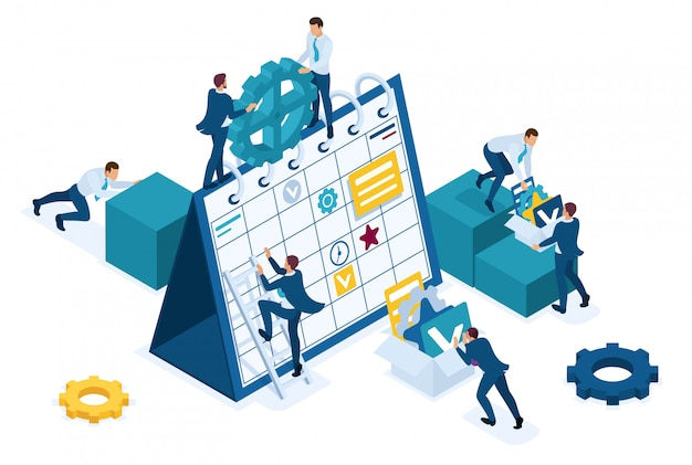 Isometric businessmen make a business plan for the next month. Premium Vector