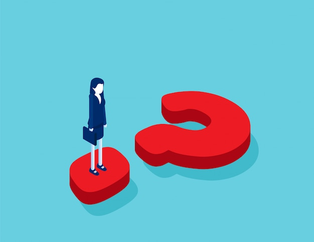 Isometric businesswoman standing on question mark Premium Vector