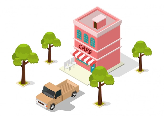Isometric cafe building Premium Vector