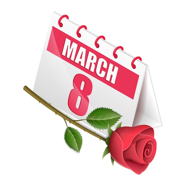 Isometric calendar women's day with flower rose Premium Vector