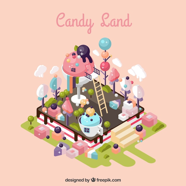 Isometric candy land background Free Vector