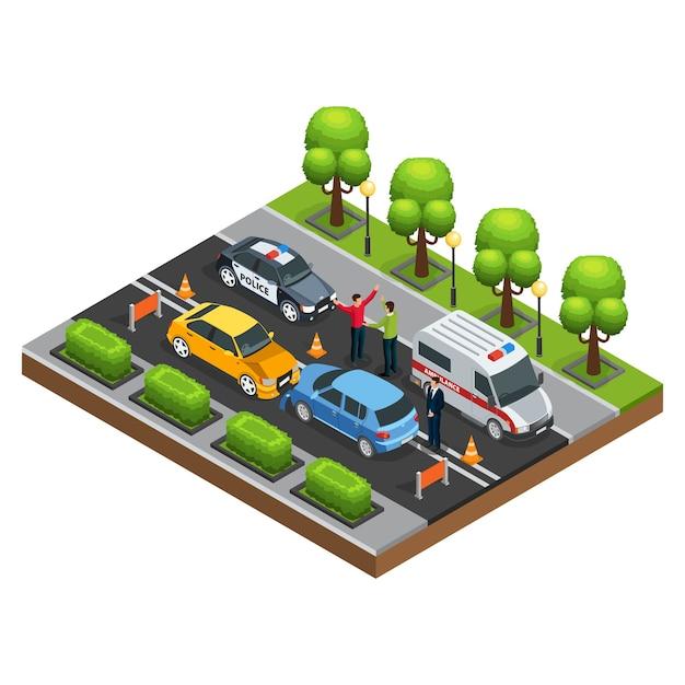 Изометрические концепция автомобильной аварии Бесплатные векторы