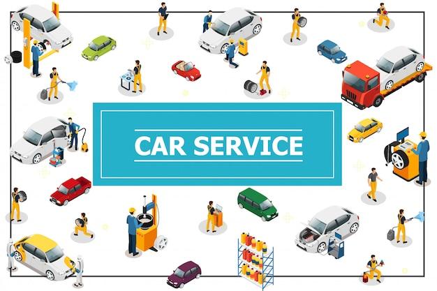 等尺性車とタイヤサービス組成自動車の過程でプロの労働者が異なる車のモデルとフレームの種類を修理 無料ベクター