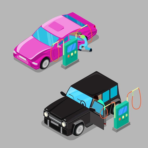 Isometric car cleaner station. driver cleaning car Premium Vector