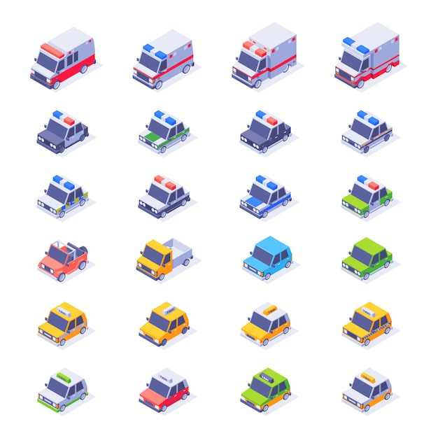 Isometric car collection. different type of isometric car set. ambulance, taxi, sedan, van, police car, jeep Premium Vector