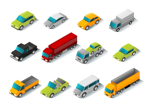 Isometric car icons set Free Vector