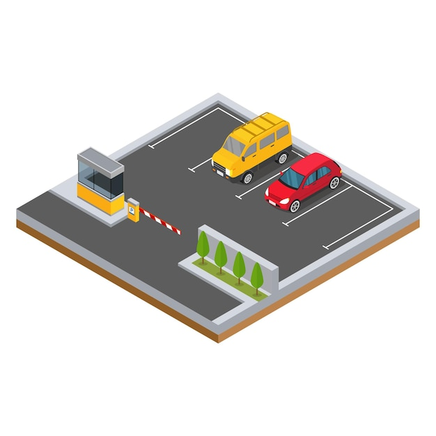 Isometric car in the parking area with trees illustration Premium Vector