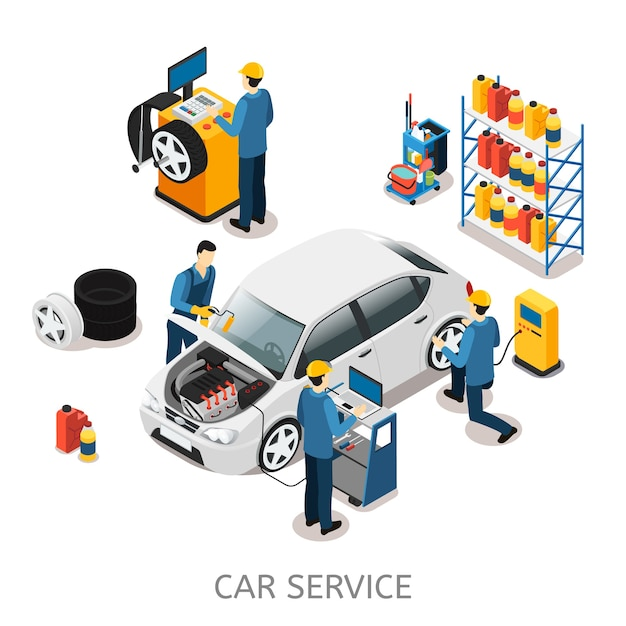Isometric car repair center concept Premium Vector