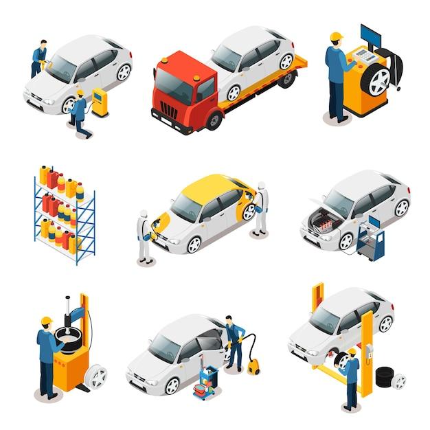 Isometric car repair services set Premium Vector