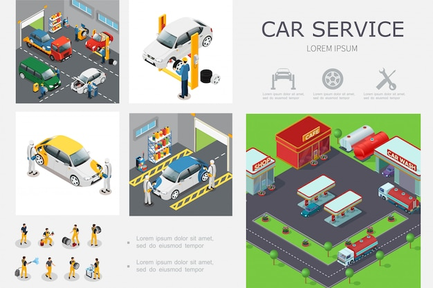 Isometric car service template with workers change tires wash and repair automobiles Free Vector
